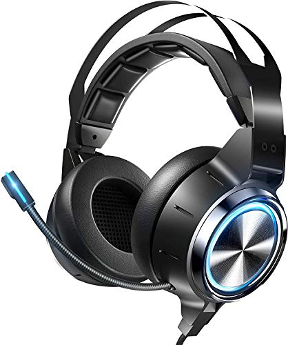 RUNMIND Gaming Headset Xbox One Headset PS4 Headset with 7.1 Surround Sound, Noise Reduction Gaming Headset, LED Soft Memory Earmuffs with Microphone Flow