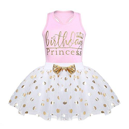 TiaoBug Baby Mädchen Kleidung Set Babyshirt Ärmellos Top + Tutu Rock Polka Dots Prinzessin festlich Kleid Kleinkind Kostüm Geburtstag Outfit Gr. 80-116 Rosa 80-86
