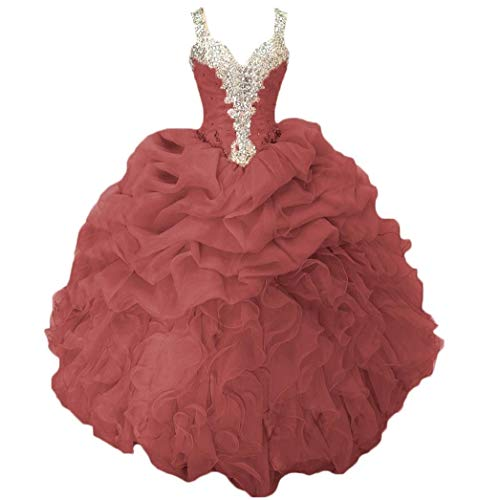 Dydsz Quinceanera Dresses Prom Party Dress Women Juniors Beaded Ball Gown Cheap D18 Burgundy 8
