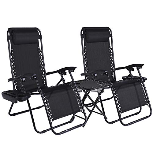 LAJOSON Zero Gravity Chair with Side Table Cup Holder, Set of 2, Reclining Outdoor Sun Loungers, Adjustable Recliner Chair for Patio Garden Beach Pool Camping, Black