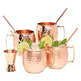 Kitchen Science Moscow Mule Copper Mugs 16 Ounce with 4 Straws and Jigger Set