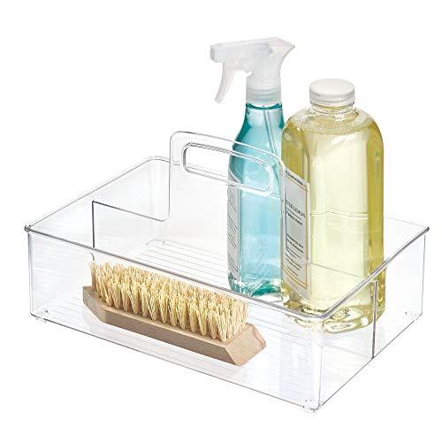 iDesign InterDesign Linus Tote Bathroom Cabinet-Medium Clear BPA-Free Plastic Deep Kitchen Storage Bin with Handles