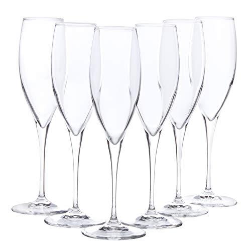 BORMIOLI Flute Set 'Premium' 6 pièces – Gastronomie qualité – remplissage Flûtes 26 cl – Longueur du manche 10 cm – Parfaite Brillance grâce à la technologie Star Glass