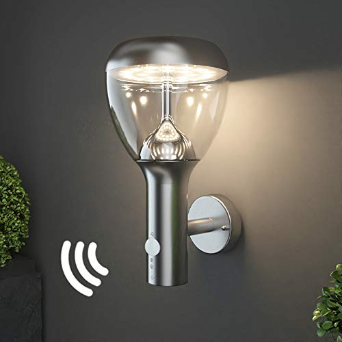 NBHANYUAN Lighting LED Outdoor Wall Light Fixtures with Motion Sensor Exterior Light Silver Stainless Steel Weatherproof 3000K Warm Light Front Door Porch Light 110V 1000LM [Energy Class A+]