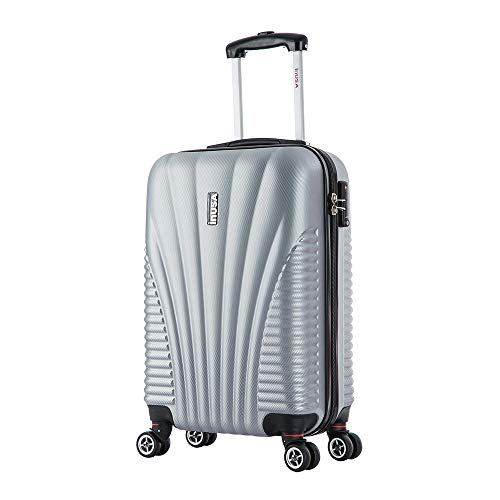 InUSA Chicago Hardside 21 Inch Carry-On Spinner Luggage with Ergonomic Handles, Travel Suitcase with Four Spinner Wheels and Studs, Silver