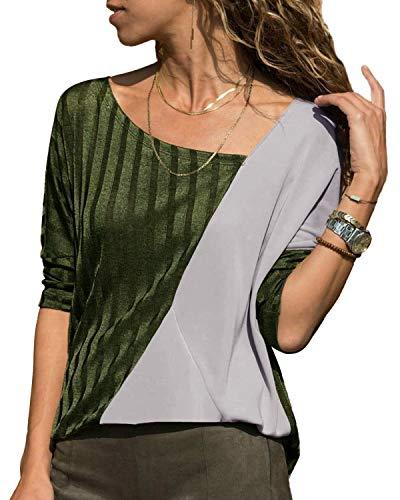YOINS Camiseta de manga larga para mujer, sexy, cuello en V y cuello redondo, diseño de camuflaje, talla grande Verde militar. S