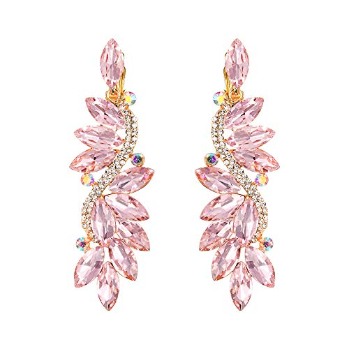 Clearine Wedding Bridal Statement Costume Crystal Diamante Marquise Flower Chandelier Clip-On Dangle Earrings Pink Gold-Tone