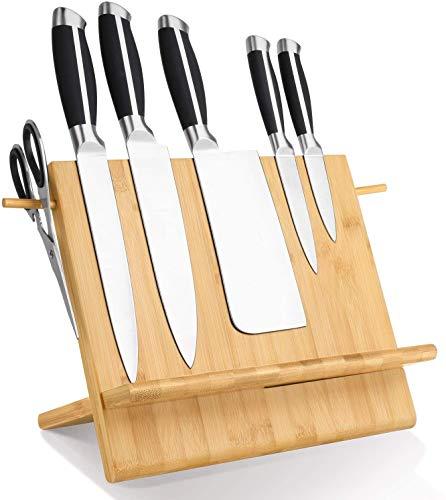 Buabi Tabla portacuchillos magnética, con Soporte para Tablet y Libro de Cocina. Tabla de bambú con imán en Las Dos Caras, el Doble de sujección (No Incluye Cuchillos)