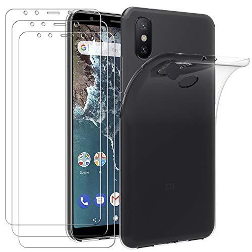 ivoler Hülle für Xiaomi Mi A2, mit 3 Stück Panzerglas Schutzfolie, Dünne Weiche TPU Silikon Transparent Stoßfest Schutzhülle Durchsichtige Handyhülle Kratzfest Case