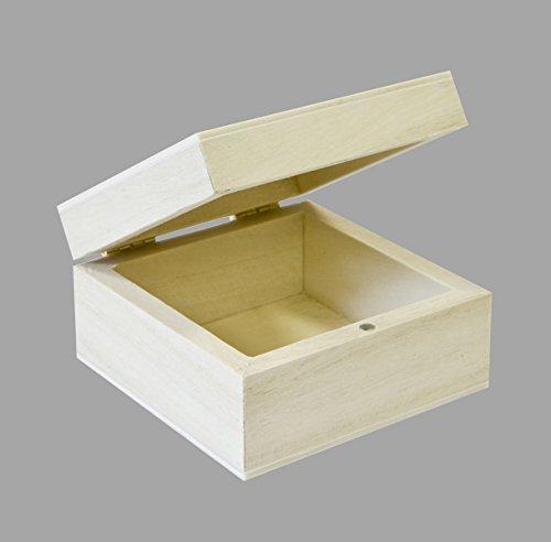 Visiodirect Lot de 10 Boîtes en Bois carrées - 6 x 6 x 3,5 cm