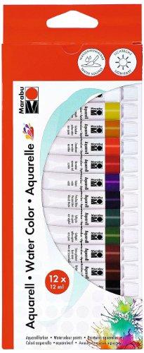 Marabu 1211000000200 - Aquarellfarbenset, transparente feuchte Aquarellfarben auf Wasserbais, lichtbeständig, geeignet für Papier, Leinwand und Malkarton, 12 x 12 ml Farbe