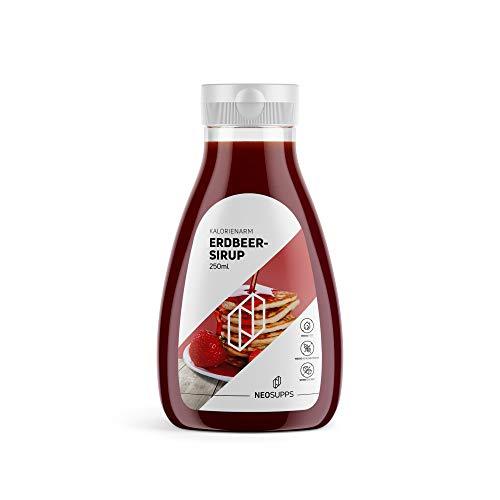 Kalorienarmer Erdbeer-Sirup 250ml | fruchtig | Sirup | Frühstück | gesunder Snack | Erdbeere | Kein Zucker | Kein Fett | Keine Kohlenhydrate | Low Carb | Backen | Kochen, Gewicht:250ml