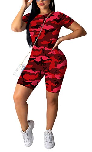 Aro Lora Womens 2 Piece Outfit Tracksuit Camo Print T Shirt Shorts Set Jumpsuit Romper Casual Sport Small Camo Red