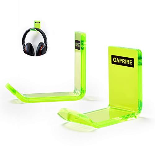 OAPRIRE Headphone Hanger Wall Mount (2 Pack) - Headphone Holder Kit with Cable Clip, Universal Headphone Stand for Sennheiser, Sony, Bose, Beats, AKG, Gaming Headphones, Earphones (Clear Green)