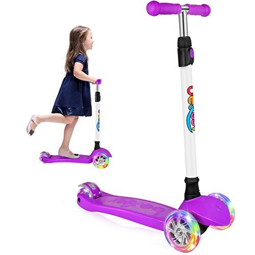 BELEEV Patinete de 3 Ruedas para Niños de 3-12 años, Scooter con Ruedas iluminadas LED, Patinete con 4 Altura Ajustables(Purple)