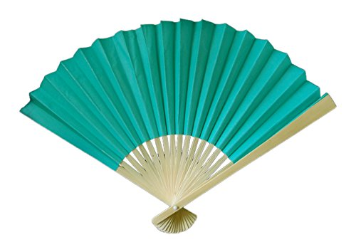 """Quasimoon 9"""" Teal Green Paper Hand Fans for Weddings, Premium Paper Stock (10 Pack) by PaperLanternStore"""