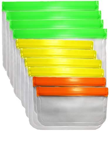 Hymhkk 10 bolsas de silicona reutilizables para sándwich de cocina, bolsas de congelación, bolsas de almacenamiento para casa, frutas, viajes, aperitivos, verduras, leche, carne, etc.