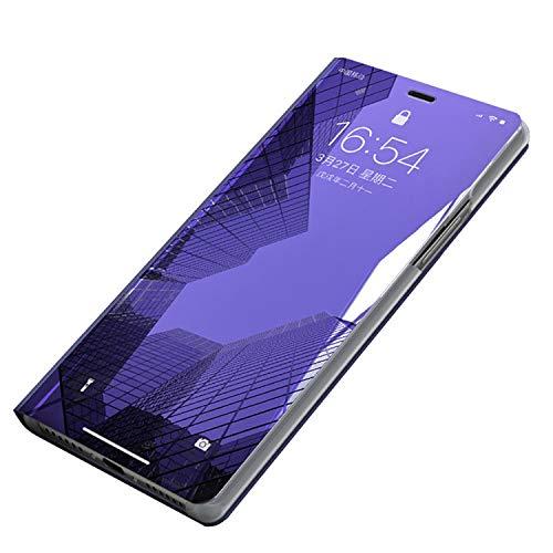 Carcasa Huawei Mate 9 Funda Case Mirror Funda Flip Tapa Libro Carcasa Funda de Espejo Flip Caso Huawei Mate 9 tirón del Duro Espejo Soporte Shell Cover para Huawei Mate 9 (Huawei Mate 9, Violeta)
