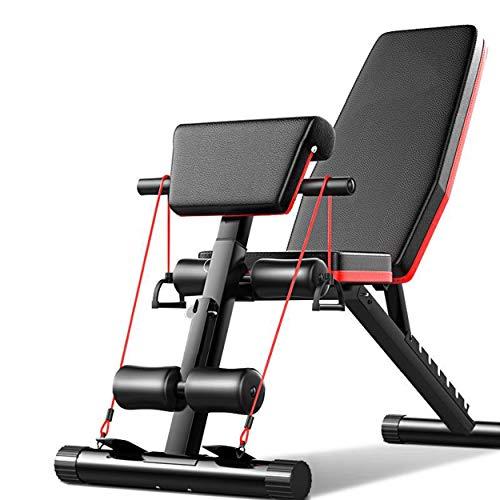 Acobonline Banco de Pesas Fitness,Banco de Musculación Multifunción para Entrenamiento de Cuerpo Entero, Respaldo abatible, diseño Compacto, Antideslizante. (Modelo B)