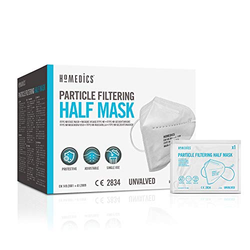 HoMedics Einweg-Gesichtsmasken FFP2 PPE - Mundschutz CE-zertifiziert, 3-Schicht-Filtration, latexfreie Maske, FFP2 Maske, 20 Stück