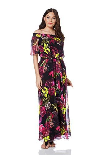 Roman Originals Damen Maxi-Kleid mit Blumenmuster - Lange Damen-Kleider mit Bardot-Ausschnitt, Blumen, Hippie, Boho, für Urlaub und Ausgehen abends - Schwarz - Größe 38