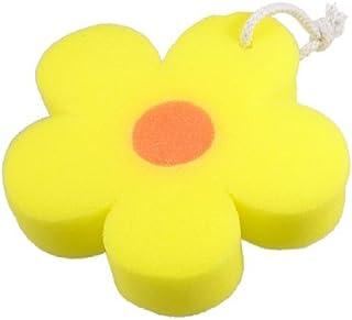 DealMux Flower Shaped Body Massage Washing Cleaner Bath Sponge Orange