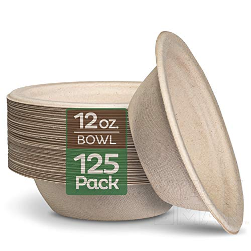 100% Compostable 12 oz. Paper Bowls [125-Pack] Heavy-Duty Quality Natural Disposable Bagasse, Eco-Friendly Biodegradable Made of Sugar Cane Fibers