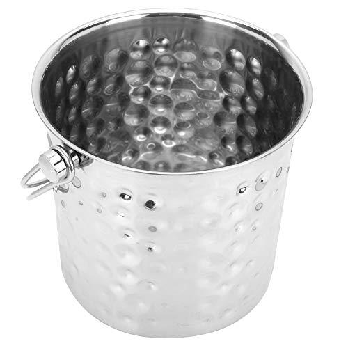 Cubo de hielo, material de acero con hielo de acero adecuado con tecnología de martillo de acero inoxidable 304 (plata)