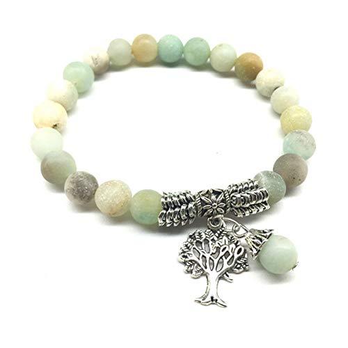 Fnito Armband Natürliche runde Yoga Matte Perlen Armband Schmuck Stein Meditation Armbänder Baum des Lebens Geschenk