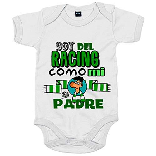 Body bebé soy del Racing como mi padre - Blanco, 6-12 meses