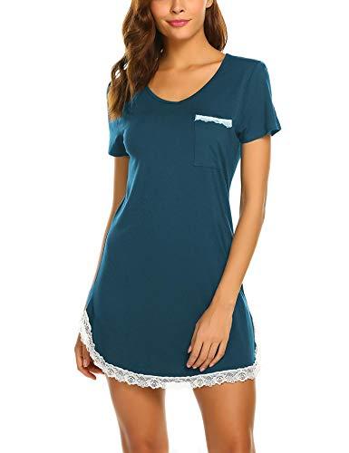MAXMODA Nachthemden Nachthemd Nachtwäsche Damen Schlafshirt Nachtkleid Kurzarm Baumwolle Negligee Sexy Sleepshirt