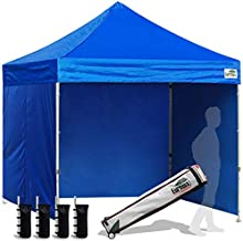 Eurmax 8x8 Feet Ez Pop up Canopy Tent, Pop-up Instant Tent, Outdoor Canopies Commercial Gazebo with Sidewalls and Roller Bag, Bonus 4 SandBags (Blue)