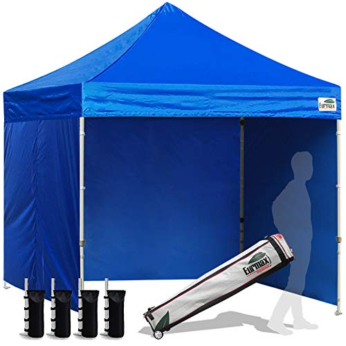Eurmax 8x8 Feet Ez Pop up Canopy Tent, Pop-up Instant Tent, Outdoor Canopies Commercial Gazebo with Sidewalls and Roller Bag, Bonus 4 SandBags (Blue)
