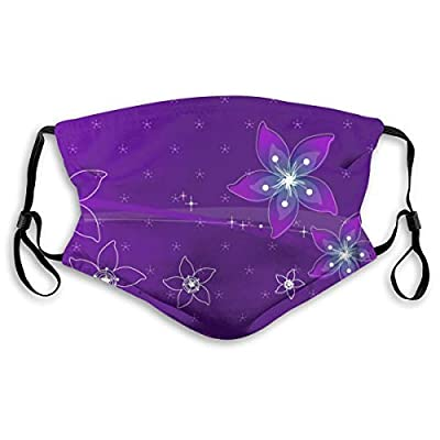 HOTBABYS Violet Background Reusable Activated Carbon Filter Face Covering with Replaceable Filter for Men Women S