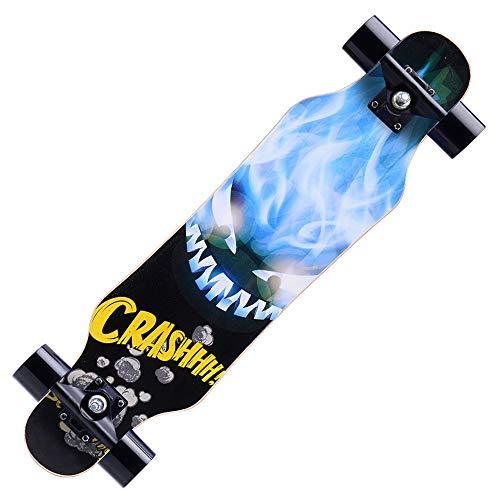 Skateboard Deck Biegbares Deck und glatte PU-Rollen Geeignetes komplettes Skateboard mit Skate-Werkzeugset für Kinder Jungen Mädchen Jugendliche Anfänger,Blue