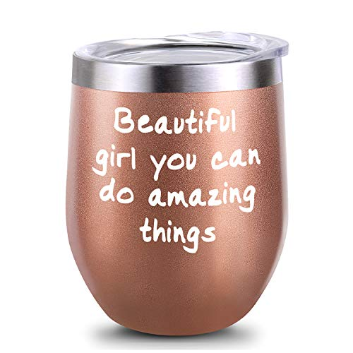 Inspirational Gifts, Inspirational Gift for Girl, Inspirational gift for Women, Beautiful Girl You Can Do Amazing Things Birthday Wine Gifts Ideas for Women Girl, 12oz Insulated Wine Tumbler with Lid