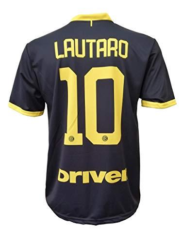 L.C. Sport Terza Camiseta Inter Lautaro Martinez 10 Réplica Autorizada Niño (tallas 2 4 6 8 10 12) Adulto (S M L XL) Leer Notas, Negro , 10-11 anni