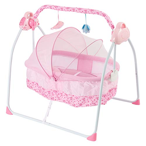 Baby Bassinets  Lightweight Baby Cribs with Automatic Swing Travel Bassinets for Babies Gliding Motion Soothes Bassinet for Baby Have Breathable Net and Music Box Baby Crib for Infant Pink