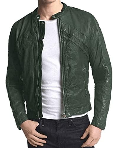 HiFacon Chaqueta de piel auténtica para hombre, estilo retro, color verde, Chaqueta de piel sintética, XXS