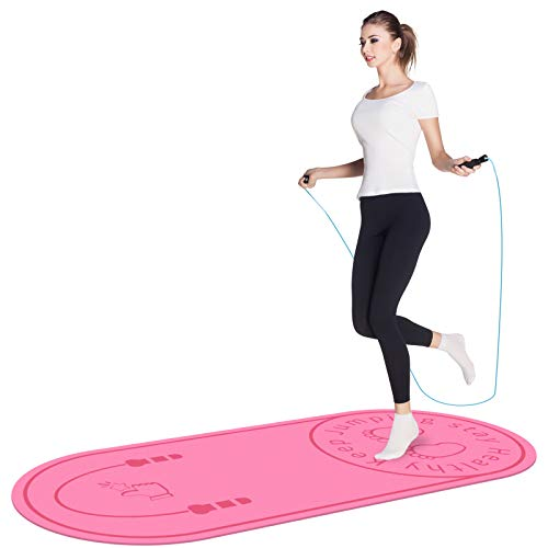 Jump Rope Mat, Aforfu Knees Protection Impact Absorption Durable Jumping Rope Mat with Non-Slip Texture for Home Indoor Workout, High Density Adds Jump Ropes Longevity Portable Exercise Mat (Pink)