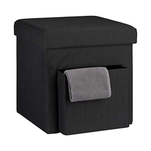 Relaxdays Tabouret de rangement carré pliant en lin avec couvercle compartiment pouf de stockage cube pliable repose-pieds HxlxP: 38 x 38 x 38 cm, noir