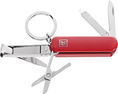 Zwilling Multi-Tool Maniküre Pedikte Nagelschere Nagelknipser Nagelfeile Schlüsselanhänger Reise Edelstahl 60 mm rot 42450-003-0
