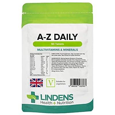 Lindens Multivitamin A-Z Daily Tablets | 90 Pack | Perfect Vitamin & Mineral balance of Vitamin A, C, D, E, B1, B2, B3, B6, B12, Folic Acid, Magnesium, Iron, Zinc & Iodine by Lindens