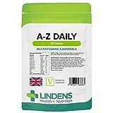 Lindens Multivitamin A-Z Daily Tablets - 90 Pack - Perfect Vitamin & Mineral Balance of Vitamin A, C, D, E, B1, B2, B3, B6, B12, Folic Acid, Magnesium, Iron, Zinc & Iodine - UK Manufacturer, Letterbox Friendly