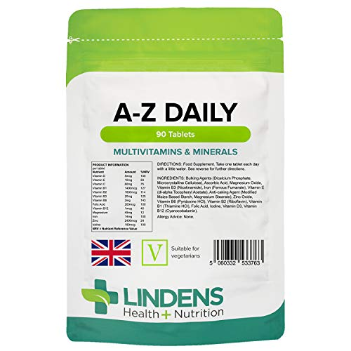 Lindens Multivitamin A-Z Daily Tablets - 90 Pack - Perfect Vitamin & Mineral Balance of Vitamin A, C, D, E, B1, B2, B3, B6, B12, Folic Acid, Magnesium, Iron, Zinc & Iodine - UK Manufacturer, Letterbox Friendly