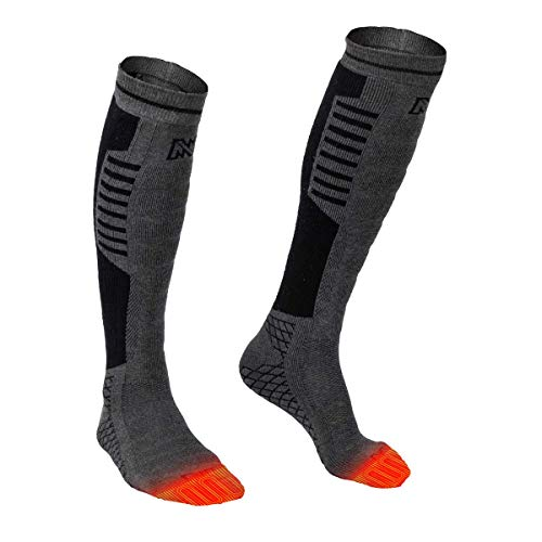 Mobile Warming Heated Socks, Tri-blend Construction,Grey/Black,Men10-14