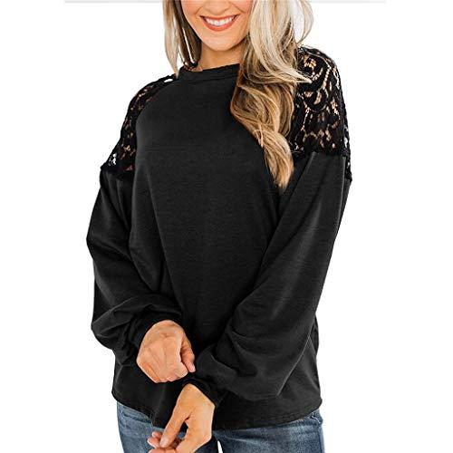 Andouy Langarmshirt Damen Tunika Sweatshirt Lace Raglan Oberteile Elegant Pullover Top Blusen(XL.Schwarz)