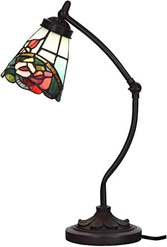 Bieye L30759 Rose Flower Tiffany Style Stained Glass Rocker Arm Desk Lamp Night Light with 5 inch Wide Lampshade for Working Reading Table, Green Red, 19 inch Tall