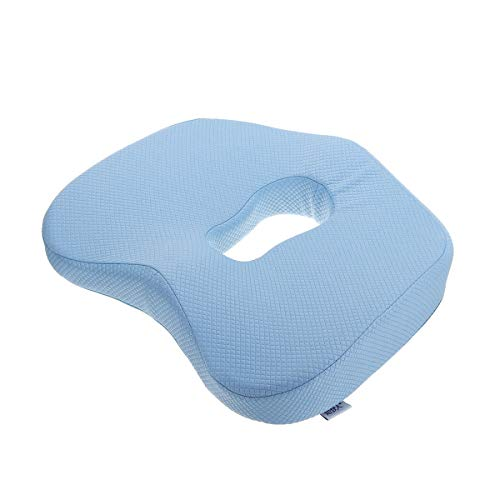 CHEJHUA Orthopaedic Memory Foam Seat Cushion Anti-Slip Pillow Coccyx Pain Relief for Office Home Travel Drive Endorse Support Pillow (Color : Blue)