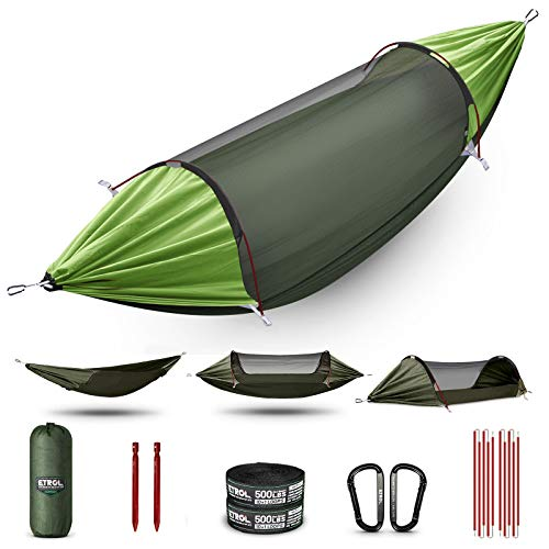 ETROL Hammock, Upgrade Double & Single Camping Hammock with Mosquito Net, 2 Tree Straps, 2 Carabiners, 2 Aluminium Bent Poles, 3 in 1 Function Portable Hammock for Indoor Outdoor Hiking Patio Travel
